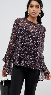 Yas Printed Blouse With Fluted Sleeve Detail