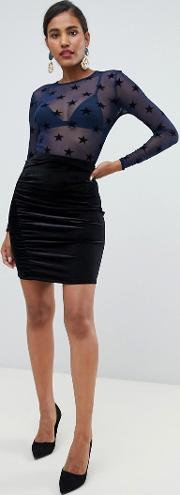 Yas Velvet Bodycon Mini Skirt
