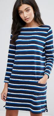 breton stripe long sleeved jersey dress