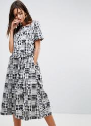 Patchwork Ruffle Midi Dress