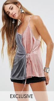 cami top with contrast wrap front