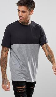 colour block t shirt in black and grey