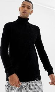 knitted polo neck in black