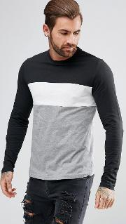 Long Sleeve  Shirt In Black With Panels