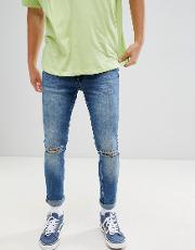 super skinny jeans with knee rips  midwash blue