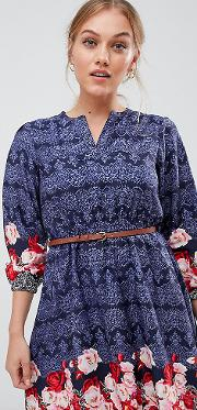 Belted Dress With Sleeves