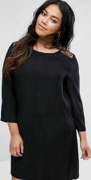 Swing Dress With Lace Insert And Flare Sleeves