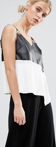 Leather Look Cami With Metal Hardware Trims