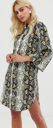 Snake Print Shirt Dress With Belt Detail