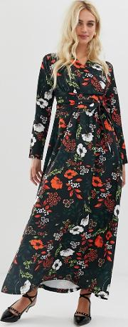 Wrap Front Long Sleeve Floral Midi Dress