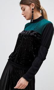 zibi pleated and pearl high neck blouse