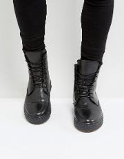 Leather Smooth Wedge Lace Up Boots