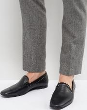 leather studded detail loafers