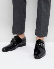 patent monk shoes in black