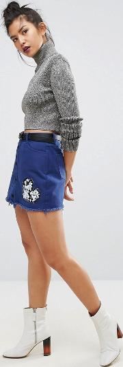 build your love around the world embroidered mini skirt