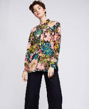 Boyfriend Cut Printed Silk Shirt