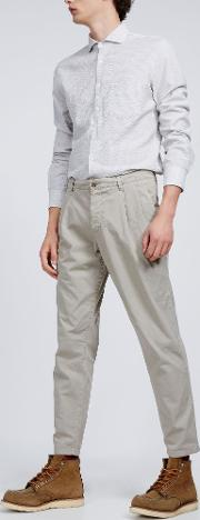 Garment Dyed Cotton Pleated Trousers Funzionale Pince