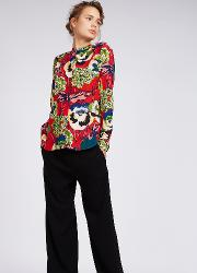 Printed Silk Guru Collar Shirt