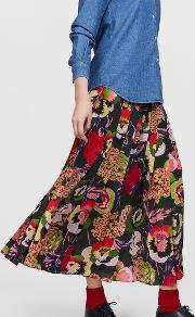 Printed Silk Plisse Skirt