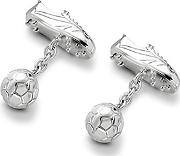 Aspinal Of London Sterling Silver Football & Boot Cufflinks,