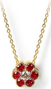 Athena 18ct Gold Ruby & Diamond Cluster Pendant Necklace