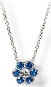 Athena 18ct White Gold Sapphire & Diamond Cluster Pendant Necklace