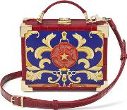 Bright Deep Shine Red Croc With Rosette Embroidery Mini Trunk Clutch Bag