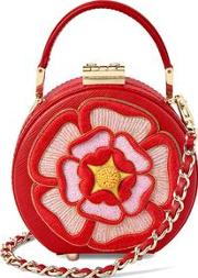 Bright Red Scarlet Saffiano Micro Hat Box With Rosette Embroidery