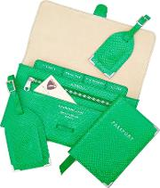 Classic Travel Collection In Grass Green Lizard & Cream