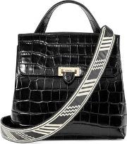 Ladies Black Italian Calf Leather Deep Shine Croc Soho Backpack With Deco Embroidered Straps