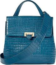 Ladies Blue And Green Leather Deep Shine Small Croc Soho Backpack