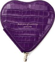 Ladies Elegant Purple Leather Deep Shine Small Croc Heart Coin Purse
