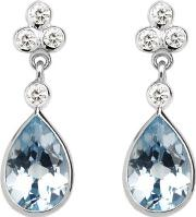Ladies Exquisite Aphrodite Teardrop Aquamarine & Diamond Earrings