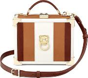 Ladies Magnificent Tan Brown And Redwood Lion Mini Trunk Clutch