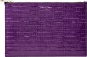 Ladies Purple Leather Large Essential Deep Shine Small Croc Flat Pouch