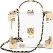 Ladies Transparent Acrylic Lion's Head Mini Trunk Clutch With Gold Hardware