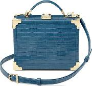 Ladies Vintage Blue And Green Leather Mini Trunk Clutch Deep Shine Small Croc Bag