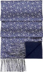 Men's Double Faced Cashmere & Silk Paisley Scarf In Cobalt