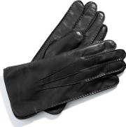 Mens Black Cashmere Lined Leather Gloves