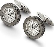 Mens Classic Sterling Silver Spoked Wheel Cufflinks