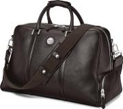 Mens Dark Brown Pebble Italian Calf Leather Aerodrome Long Weekender