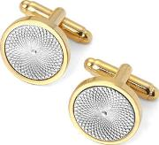 Mens Gold Plated With Sterling Silver Engraved Centre Round Cufflinks