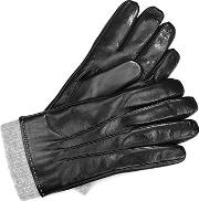 Mens Leather Gloves With Knitted Cuff
