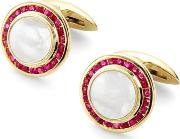 Mens Luxury Round Mother Pearl Cufflinks Gemset With Cluster Rubies