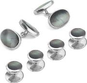 Mens Sterling Silver & Black Mother Pearl Oval Cufflinks & Dress Shirt Studs Set