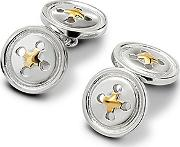 Mens Sterling Silver & Gold Plated Double Buttons Cufflinks