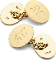 Mens Sterling Silver & Gold Plated Plain Oval Cufflinks