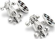 Mens Sterling Silver Racing Car & Chequered Flag Cufflinks