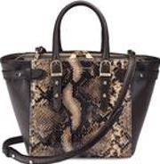 Mini Marylebone Tote In Smooth Dark Brown & Tan Snake