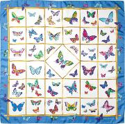 Multi Coloured Butterflies Silk Scarf In Forget Me